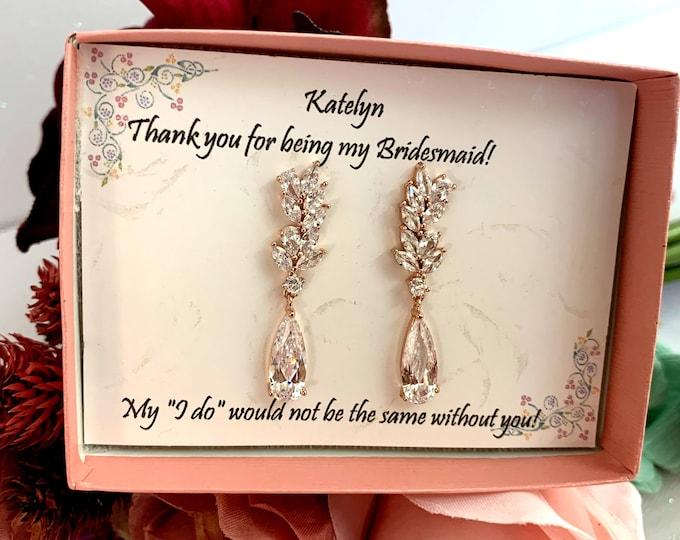 Crystal Bridal Earrings, Bridal earrings, Rose gold earrings, Bridesmaid earrings, Prom earrings, Wedding Earrings, Marquise Crystal Earring