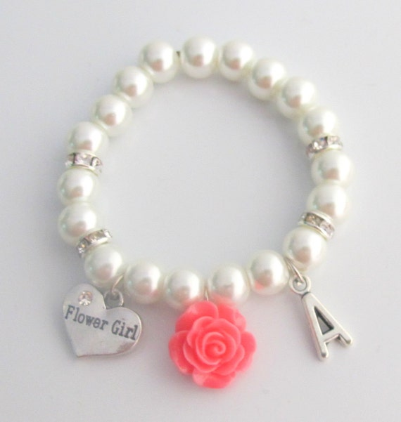 Flower Bracelet,Personalized Flower Girl Bracelet, Pink Rose flower Bracelet, Child's Pearl Bracelet,Flower Girl Gift, Free Shipping In USA,