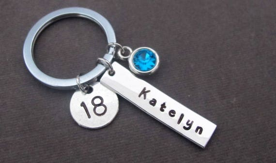 18th Birthday Gift,Name and Monogram Keychain,Gift for 18th Birthday Gift, 18 Birthday, Personalized Gift for Teenager, Free Shipping In USA