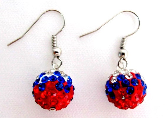 Independence Day Labor Day Military Memorial Day USA Flag Color Pave Ball Earrings Free Shipping In USA