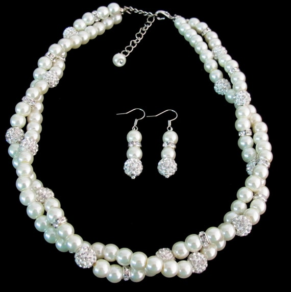 Pearl Bridal Jewelry Set Bridal Pearl Rhinestones Wedding Jewelry Bridesmaid Jewelry Wedding Gift Wedding Party Free Shipping In USA