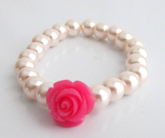 Flower Girl Bracelet with flower, Fuchsia Rose Flower Bracelet,Flower Girl Gift, Kids Pearls Bracelet,Little Girls Jewelry,Free Shipping USA