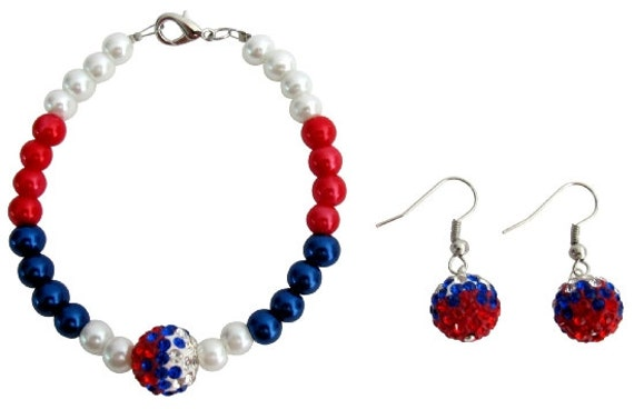 4th  July  Jewelry Bracelet  Military Mom Jewelry Red White Blue And Pave Ball  Free shipping in US