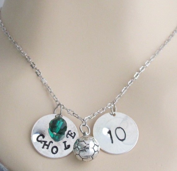 Soccer Necklace,Personalized Soccer Jewelry  Coach Gifts Soccer Mom School Team Colors Initial, Birthstone Necklace Free Shipping In