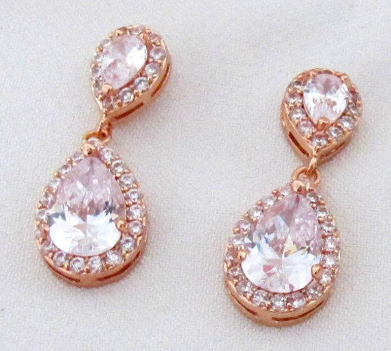 Custom Color,Teardrop bridesmaid cz earrings, Cubic Zirconia Bridesmaid earrings, Wedding earrings, Bridesmaid jewelry, Rose gold cz Earring