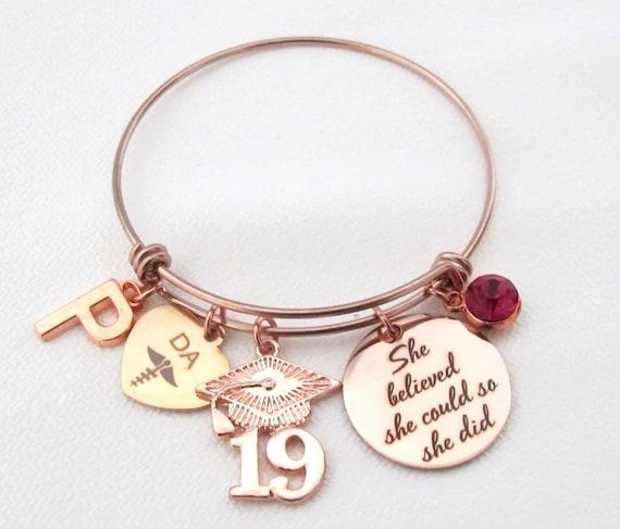 Gift for dental assistant graduation, graduation gift for dental assistant, she believed she could so she did,Rose Gold Graduation Bracelet