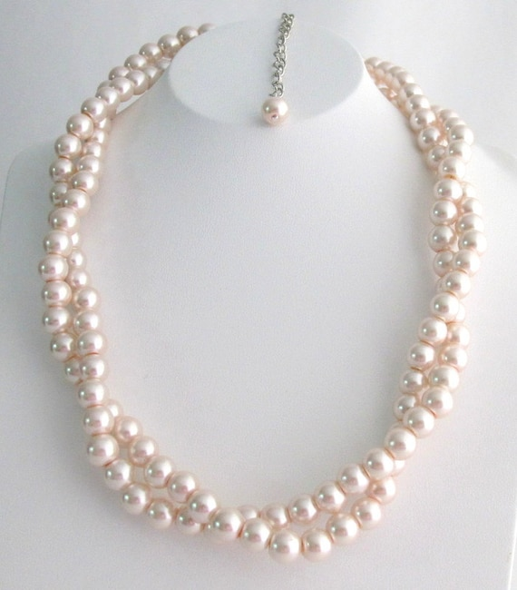 Blush Pink Pearl Necklace Twisted Pearl Necklace Baby Pink Pearl Necklace Bridesmaid  Wedding Necklace Pale blush Pink Free Shipping USA