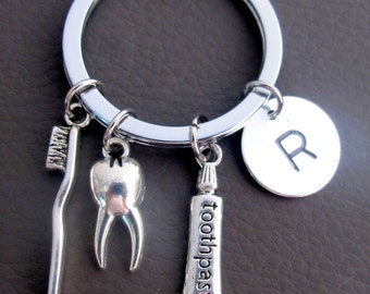 Dental Hygienist  Keychains Personalized Dental Hygienist Gifts, Dental Key chains Initial Key chain Tooth Paste, Tooth Brush, tooth charm