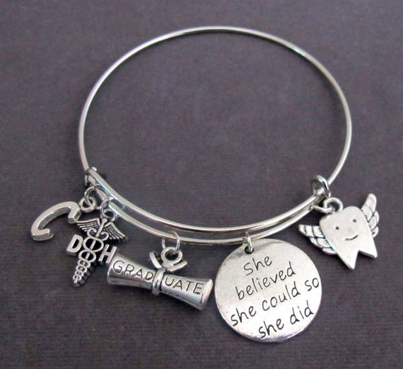 Dental Hygienist Graduation Bracelet,Gift for Dental Hygienist, RDH gifts,DH gifts, Dental Assistant gift, She Believed She Could So She Did