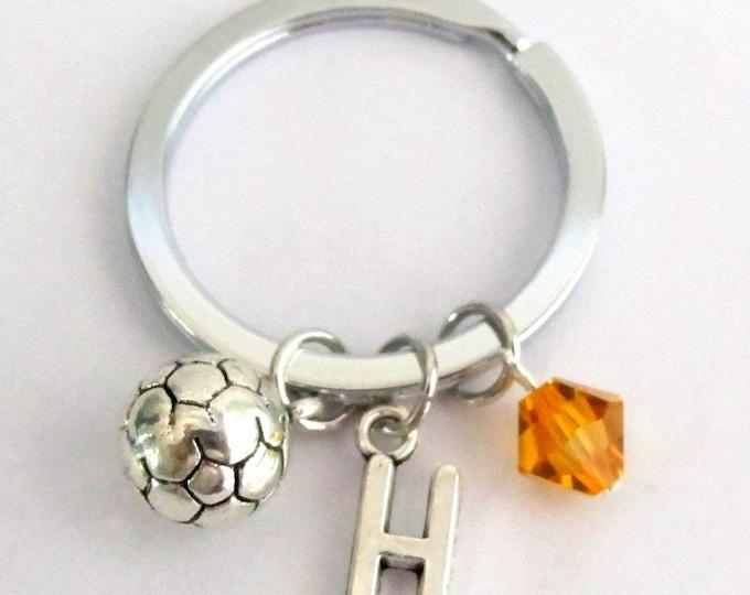 Soccer key chain Sport Keychain Soccer team Gift Personalized Initial Key chain Soccer Charm Key Chain Custom Keychain Free Shipping to USA