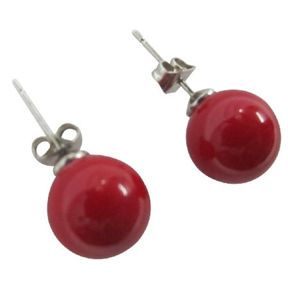 Oyster Pearl 10mm Stud Earrings in Red Color Free Shipping in USA