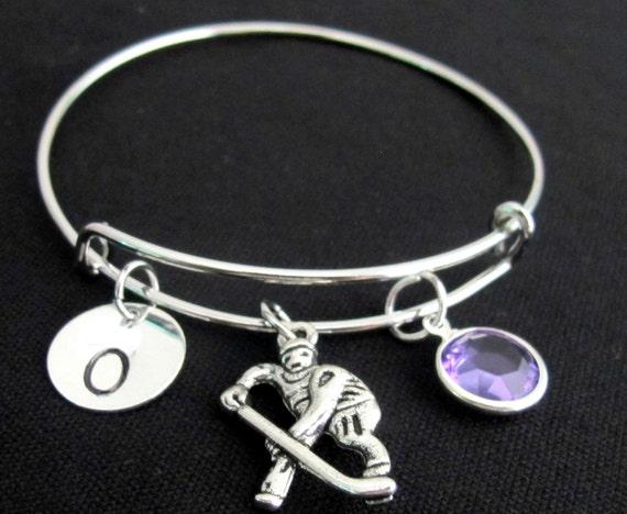 Ice hockey braclet, ice hockey bangle,Expandable bracelet, Personalized bracelet, Initial bracelet, I love Hockey -Free Shipping USA