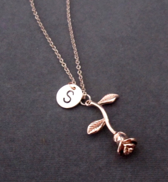 Rose Gold Rose Necklace,Rose Flower Charm,Rose Gold Initial Necklace,Rose Necklace, Rose Gold Jewelry, Bridesmaid Gift, Free Shipping In USA