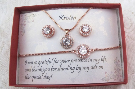 Custom Bridesmaid gifts Necklace Earrings set, Bridesmaid Earrings, Bridesmaid Necklace, Earrings and Bracelet Set, Bridal Party Jewelry Set