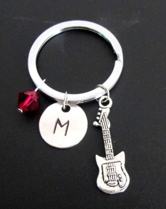 Guitar Keychain, Guitar Key Ring, Musician Keyring, Initial Keychain, Personalized Keychain, Keychain, Birthstone Keychain Free Shippin USA