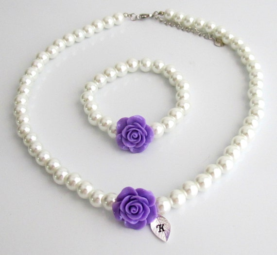 Personalized Flower Girl Necklace, Personalized flower girl jewelry set, Purple Rose Flower kids pearl necklace bracelet set, Wedding gifts