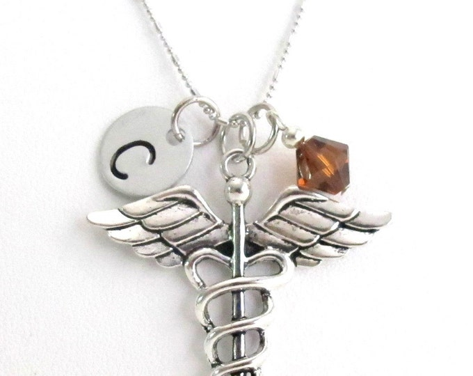 Medical Necklace Initial Necklace, Birthstone Necklace, Doctor Necklace Medical Caduceus Charm Necklace Doctor Necklace Free Shippin In USA
