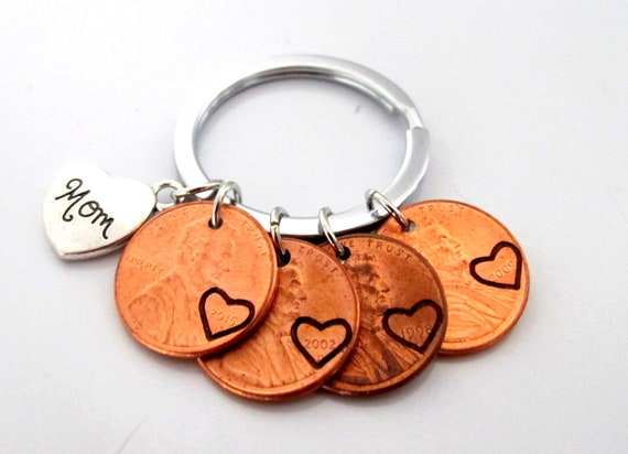 Mom Keychain,Mother's Day Gift,Gift from daughters,Mom Gift,Mom Birthday gift,Mom Penny Keychain,Gift for Mom,Mother gift, Gift for Dad