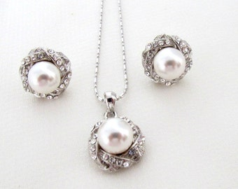 Pearl Bridal Jewelry Set,Wedding White pearl Jewelry, Zirconia Crystals White pearl  earrings,Pearl Pendant necklace, ,Free Shipping in USA