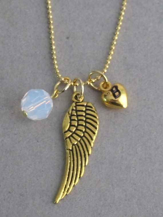 Pearsonalized Gold Wing Necklace with a Birthstone, 3D Puffy Heart Initial Necklace Personalized Angel Necklace Free shipping In USA