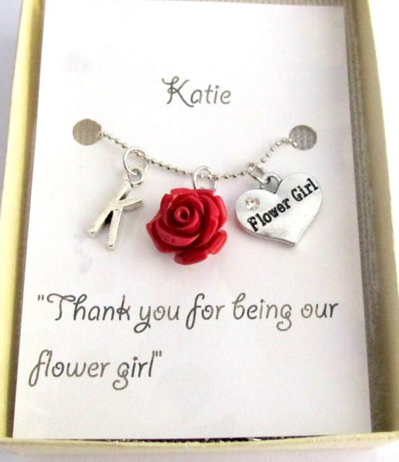 Personalized Flower Girl Necklace Wedding Gifts Personalized Flower Girl Necklace with Initial and Resin Rose Charm Free Shipping In USA