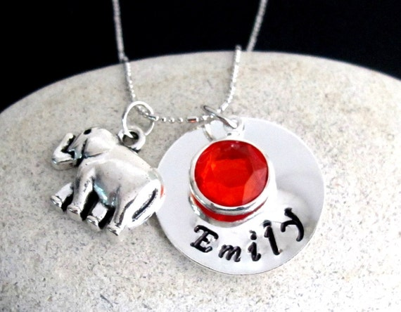 Personalized Elephant Necklace   Hand Stamped Name Birthstone Necklace Girl Necklace Elephant Lover Necklace Free Shipping In USA