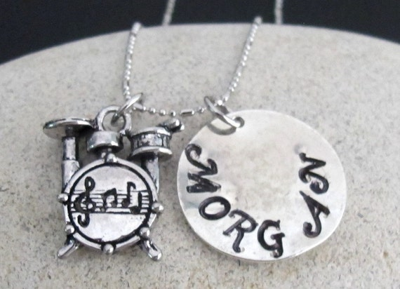 Drums Necklace, Drum set necklace, Name necklace, Personalized Drum Necklace, Drum Jewelry monogram music necklace Free Shipping USA