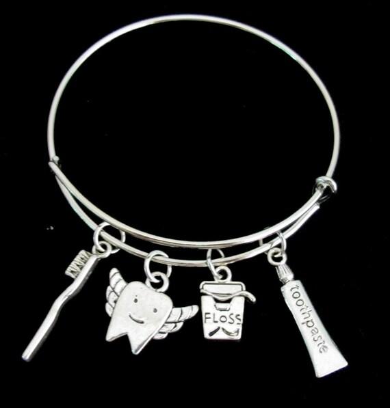 Dentist Bangle Bracelet, Dental Expandable Bangle Bracelet, Dental Charms Dentist Jewelry, Dentist Gift, Dental Hygienist, Free Shipping USA