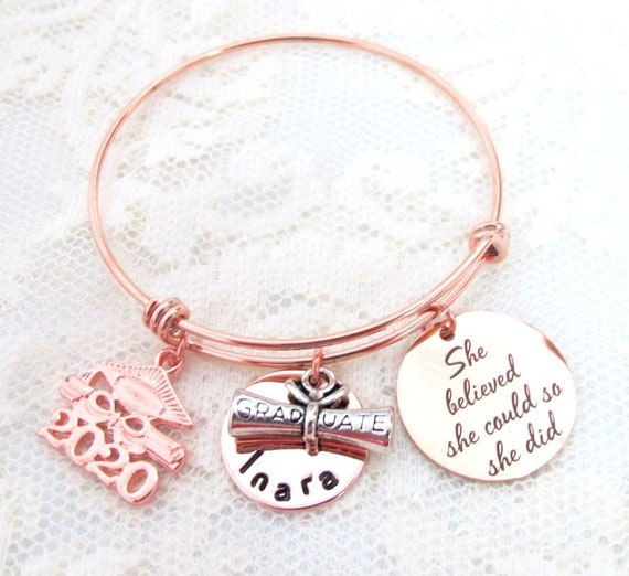 Personalized Graduation Bangle,Class of 2020 , Rose gold ,Graduation bracelet, Gruanduation gift, Graduation Jewelry, Rose gold jewelry