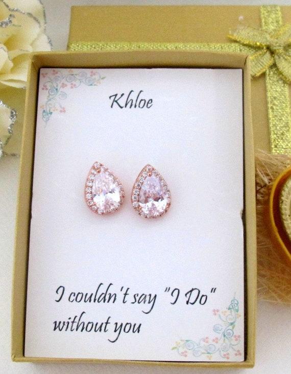 Custom Color Cz Bridal Earrings,Cubic Zirconia Stud Earrings,Rose Gold Tear Drop Wedding Earrings,Bridesmaid gift Earrings,Free Shipping USA