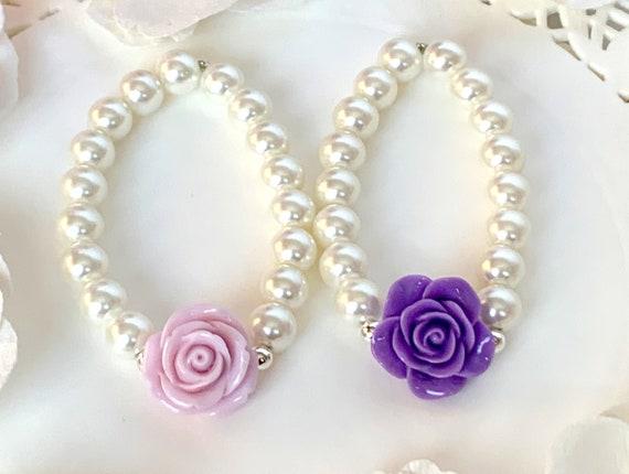 Flower Girl Bracelet, Flower girl Jewelry, Fuchsia Rose Flower Child Bracelet, Flower Girl Gift, Kids Pearls Bracelet, Little Girls Jewelry