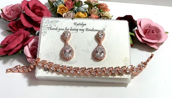 Bridesmaid gift set, Tear drop bridesmaid earrings, Bridal Earrings, CZ Bracelet, Cubic Zirconia Earrings, Wedding Jewelry Set Rose Gold