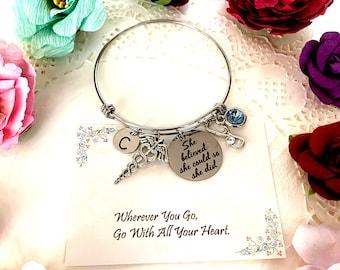 Medical Caduceus Bracelet, Stethoscope Bangle Bracelet, She believed She Could, Encouragement Jewelry, Medical Student gift, Medical charm