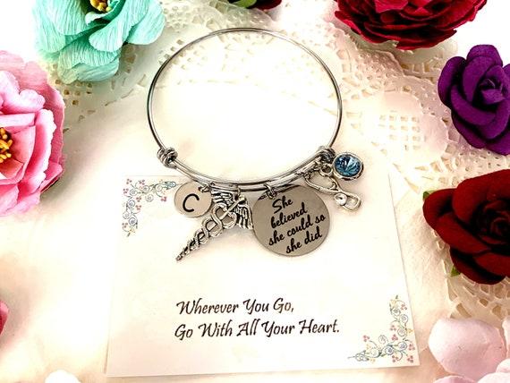 Medical Caduceus Bracelet,Stethoscope Bangle Bracelet,She believed She Could Encouragement Jewelry,Medical Student gift,Medical symbol charm