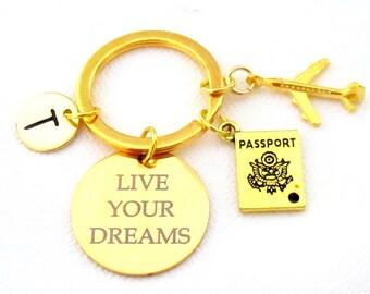 Travel keychain,Traveler key chain,Holiday gift,Live your dream,Flight Attendant gift ,Cabin Crew gift,Air plane, Passport,Free Shipping USA
