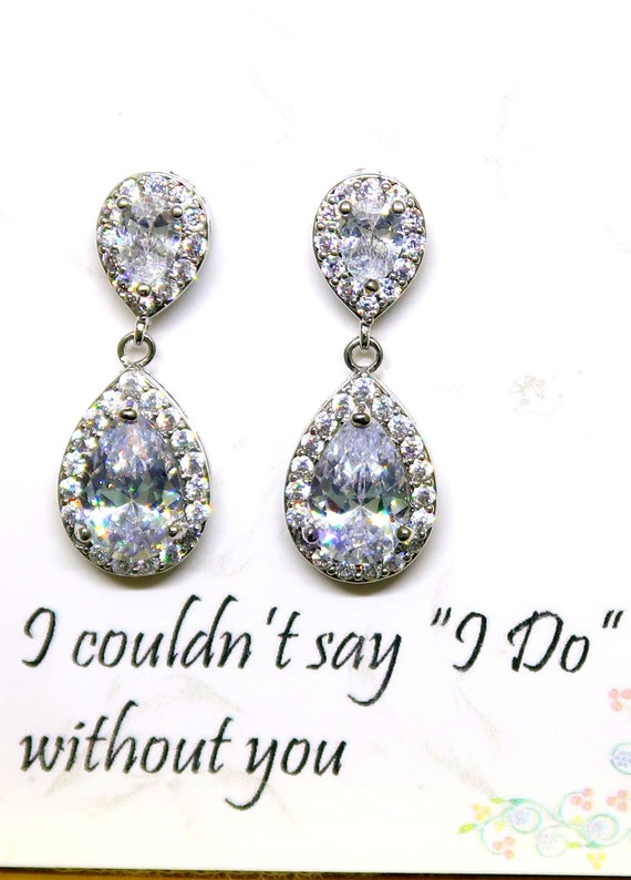 Bridesmaid gift,Teardrop CZ bridesmaid earrings,Bridal Earrings, Wedding Earrings, Cubic Zirconia Earrings,Pear earrings, Free Shipping USA