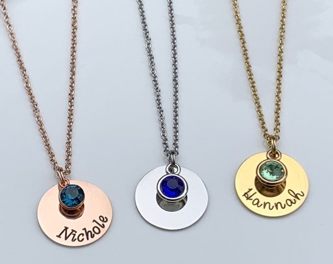 Name and birthstone necklace,Disc Necklace,Personalized Gifts for Mom Name Necklace Gift for Mom Mother Birthstone Necklace Gift for Grandma