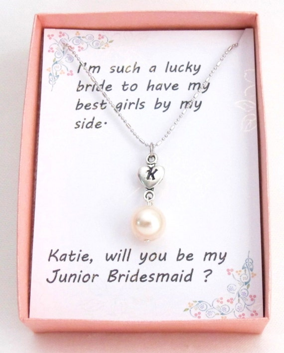 Personalized Pearl Necklace Initial Pearl Necklace ,Personalized Heart Charm, Bridesmaid Necklace, Junior Bridesmaid Free Shipping In USA