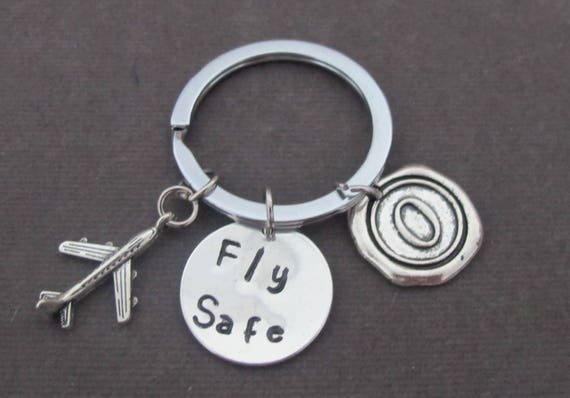 Fly Safe Keychain,Long Distance Gift,Pilot Gift,Personalized Airplane Keychain,Deployment Gift, Gift for Flight Attendant, Free Shipping USA