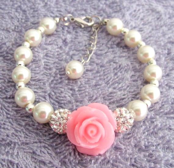 Flower Girl Bracelet, Flower Girl Gift, Pearl Childrens Bracelet, Pearl Childs Bracelet, Pearl Kids Bracelet, Girls Gift, Wedding Jewelry