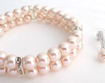 Fine Pastel Pink Pearl Blush Pink Bracelet Matching Earrings Bridesmaid Set Free Shipping In USA