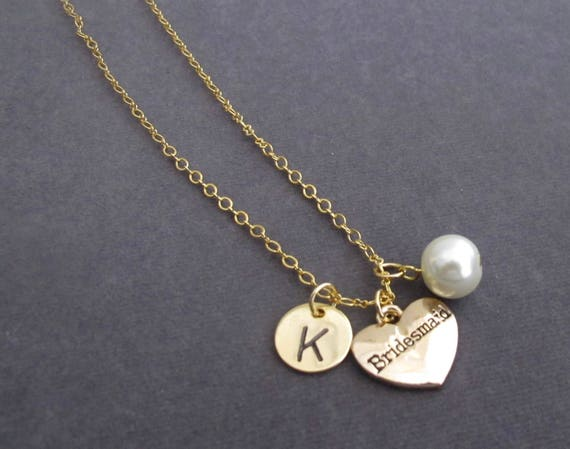 Bridesmaid initial Necklace,Gold Initial Necklace,Wedding Jewelry,Gold Necklace,Bridesmaid Gold Pendant Initial Necklace,Free Shipping USA