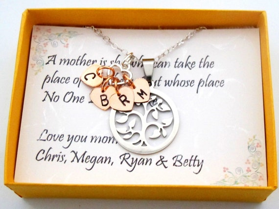 Family tree necklace Personalized Family tree initial Necklace, Gift for Grandma,Gift for Mom,Personalized Necklace Gift,Free shipping USA