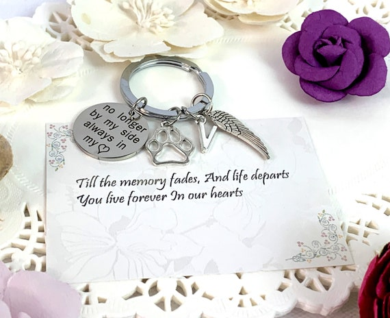 Dog Memorial KeyChain,Dog Remembrance Keychain,Pet Memorial Keyring,Dog Paw Charm,No Longer by my side,forever in my heart,Free Shipping USA