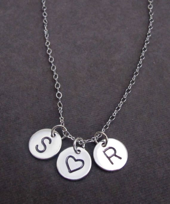 Initials Necklace Two initial Necklace Heart Initial Necklace ,Couples Necklace,Heart Necklace,Gift for her,friends gift ,Free Shipping USA