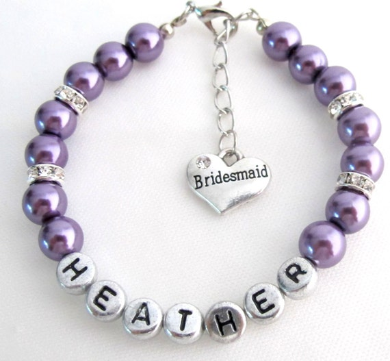 Personalized Bridesmaid Purple Pearl Bracelet Flower Girl Personalize Bracelet Wedding Gift Mother Of Bride