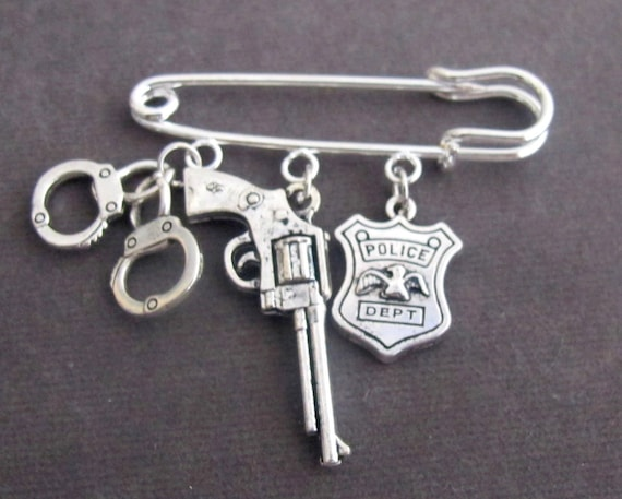 Police Officer Kilt Pin,Police Jewelry, Police Graduation gift,Gifts For Him/Her,Bullet,Gun,Handcuffs Charms Safety Pin,Free Shipping In USA