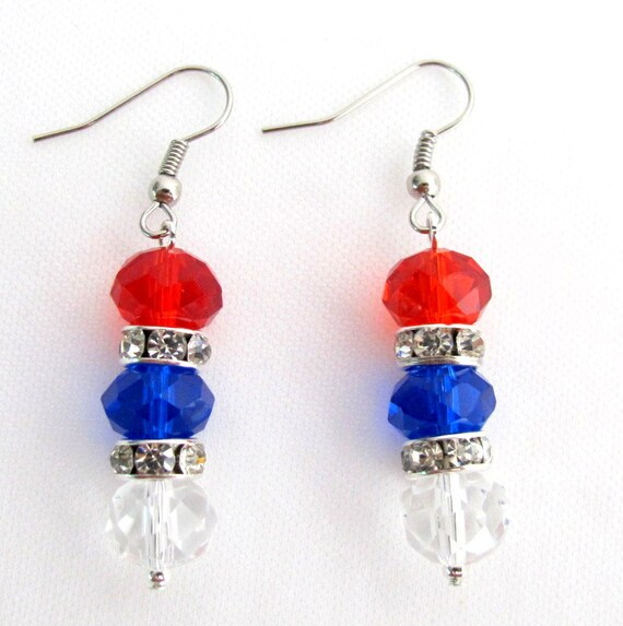 USA Independence Patriotic 4th of July Earrings Red Blue White Glass Crystal Beads Free Shipping In USA