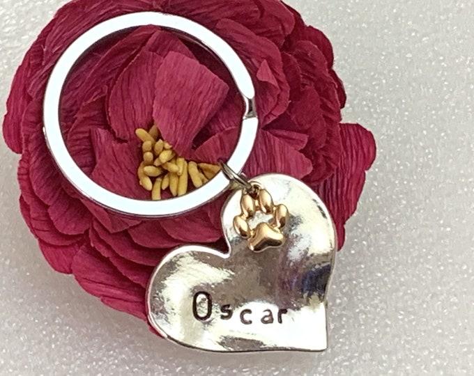 Personalized Pet Jewelry, Gold Paw Print Dog Jewelry, Cat Jewelry, Pet Loss Keychain, Customized Pet Keychain, Paw Print Keychain, Rose gold
