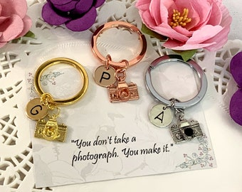 Photography keychain, Camera keychain, camera charm, personalized keychain gift, initial keychain, initial charm, customized, monogram gift